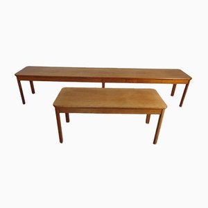 Large Cherry Benches, 1960s, Set of 2