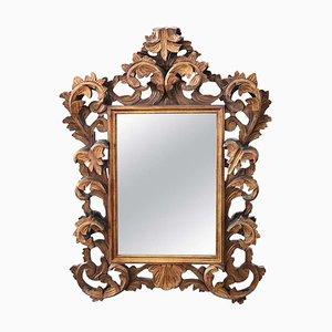 Specchio da parete in legno intagliato e dorato, anni '30