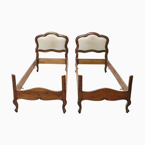 Carved Walnut & Wicker Single Beds, 1930s, Set of 2