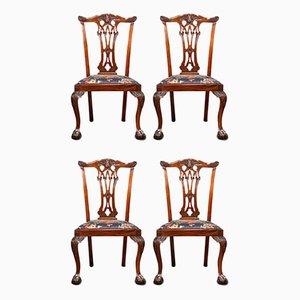 Viktorianische englische Chippendale Esszimmerstühle aus Mahagoni, 4er Set