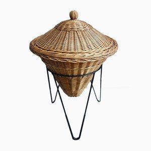 Wicker Sewing Basket on Metal String Base, 1950s