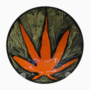 Mid-Century Ceramic Wall Decoration Plate with Leaf Motif from Zsuzsa Karacsony, 1970s