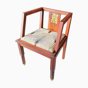 French Art Deco Oak Desk Chair, 1930s