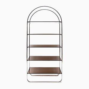 Mid-Century Modern Chrome Shelf with Smoked Glass Shelves in the Style of Milo Baughman, 1970s