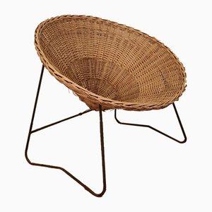 Rattan & Metal Corbeille Lounge Chair, 1950s