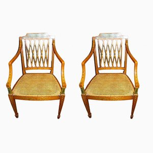 Sheraton English Armchairs in Painted Satin Wood & Inlaid Wood, Set of 2