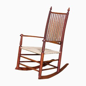 Turned Wood Rocking Chair with Cotton Straps, 1940s