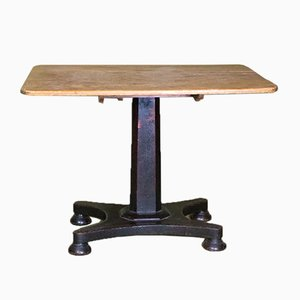 Antique British Folk Art Craft Table with Tilting Top, 1800s