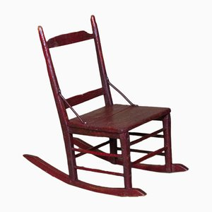 Antique French Children's Red Painted Wood Rocking Chair with Metal Reinforcements, 1800s