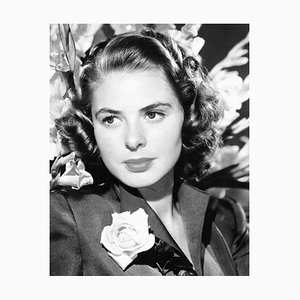 Ingrid Bergman with a Rose, Archival Pigment Print, Framed in White by Everett Collection