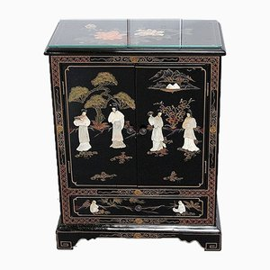 Small Asian Black Lacquered Wood Cabinet, 1950s