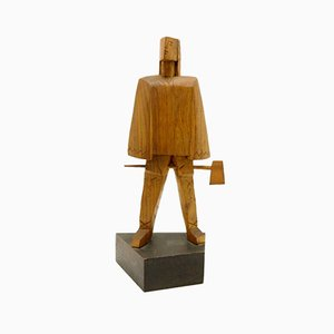 Hand-Carved Wooden Sculpture in the Cubist Style