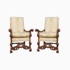 Antique Georgian English Walnut Drawing Room Elbow Chairs, Set of 2