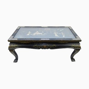 Chinese Black Lacquered Wood Folding Coffee Table with Glass Top, 1950s