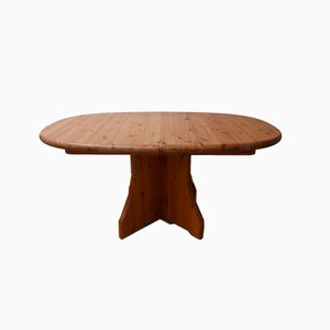 Mid-Century Belgian Oval Pine Dining Table