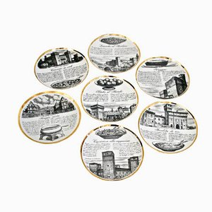 Ceramic Plates by Piero Fornasetti, Set of 7