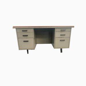 Schreibtisch aus bemaltem Metall mit Oberfläche aus braunem Kunstleder von Mermelada Estudio, 1960er
