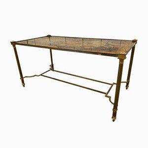 Mid-Century Rectangular Gilded Brass Coffee Table from Maison Jansen