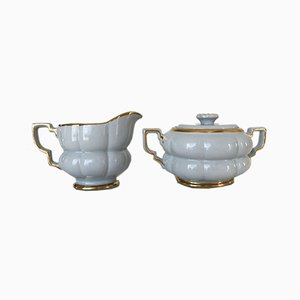 Art Deco Grand Gefle Sugar Bowl & Creamer Set by Arthur Percy for Upsala Ekeby, Art Deco, 1930s, Set of 2