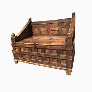 Antique Indian Wooden Pitara Box Bench