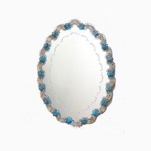 Specchio NontiscordardiMe in vetro di Murano con rose blu, Italia, anni '40