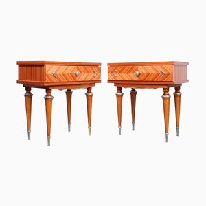 French Antique Style Glossy Nightstands from nf meuble, 1970s, Set of 2