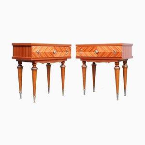 Tables de Chevet Style Antique Brillante de nf meuble, France, 1970s, Set de 2