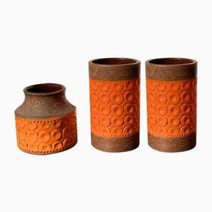 Orange Vases by Aldo Londi for Bitossi, 1960s, Set of 3