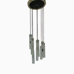 Aluminum & Black Lacquered Wood 8-Light Ceiling Lamp, 1970s
