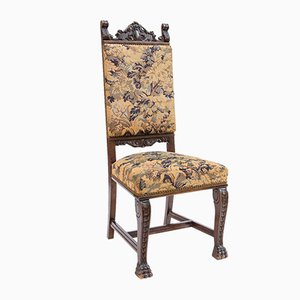 Neo-Renaissance Carved Chair with Woven Upholstery, 1800s