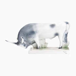 Bull by Zsolnay Porcelain, 20th-Century