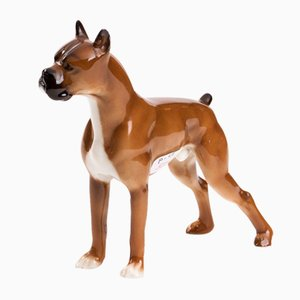 Porcelain Figurine of a Boxer Dog in the Style of Copenhagen Porcelain