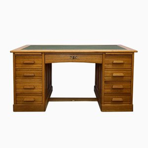 Antique Oak Writing Desk with Central Locking System & Leather Top, 1920s