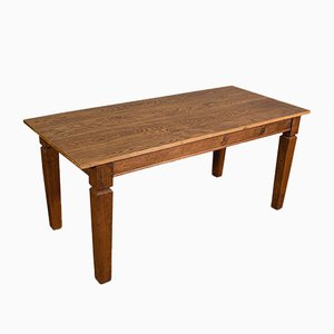 Large Edwardian English Oak Farmhouse Table, Circa 1910