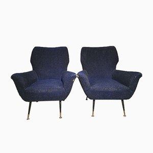 Italian Lounge Chairs with Metal & Brass Feet by Gigi Radice, 1950s, Set of 2