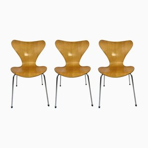 Mid-Century 3107 Butterfly Dining Chairs by Arne Jacobsen for Fritz Hansen, Set of 3
