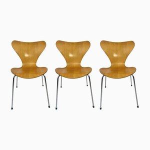 Mid-Century 3107 Butterfly Esszimmerstühle von Arne Jacobsen für Fritz Hansen, 3er Set