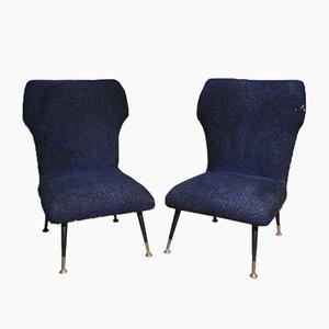 Small Italian Lounge Chairs with Metal & Brass Feet by Gigi Radice, 1950s, Set of 2