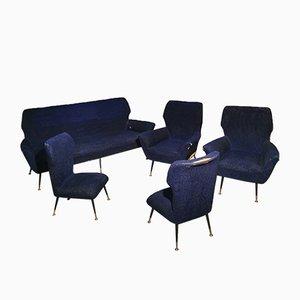 Living Room Set with Metal & Brass Feet by Gigi Radice, 1950s, Set of 5