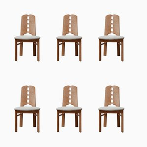Mid-Century Pine Dining Chairs, Set of 6
