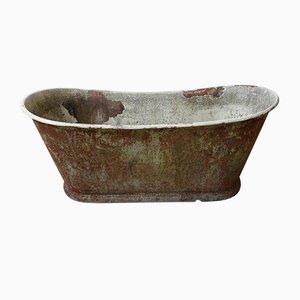 Bañera o macetero francés antiguo de hierro fundido patinado