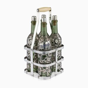 Antique French Four Bottle Tantalus from Pierre Francois Queille, 19th Century