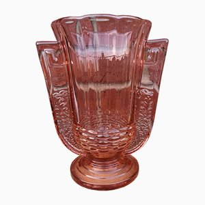 Pink Molded Glass Vase with Stepped Pedestal from Val Saint Lambert, 1930s