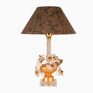Italian Gilded Cast Iron Table Lamp with Clear Crystal Flowers from Banci Firenze, 1970s