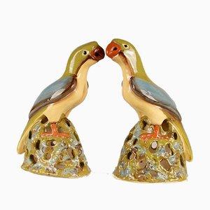 Große Chinesische Papageifiguren aus Keramik im Ming Stil, 1970er, 2er Set