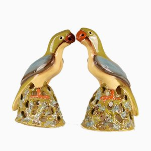 Large Chinese Ming Style Ceramic Parrot Figurines, 1970s, Set of 2