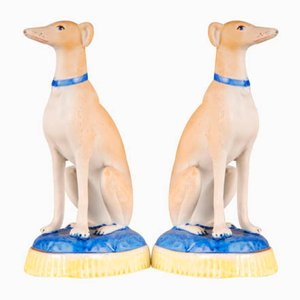 French Porcelain Greyhound Dogs, Staffordshire Style, 19th-Century, Set of 2