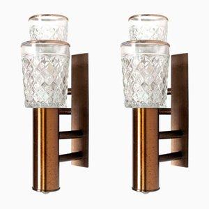 Italienische Wandlampen aus Glas, Holz & Metall von Stilux Milano, 1960er, 2er Set