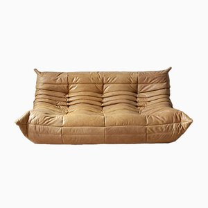 Camel Brown Leather 3-Seater Togo Sofa by Michel Ducaroy for Ligne Roset, 1990s