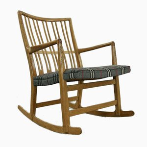 ML-33 Rocking Chair with Floral Carvings by Hans J. Wegner for A/S Mikael Laursen, 1940s
